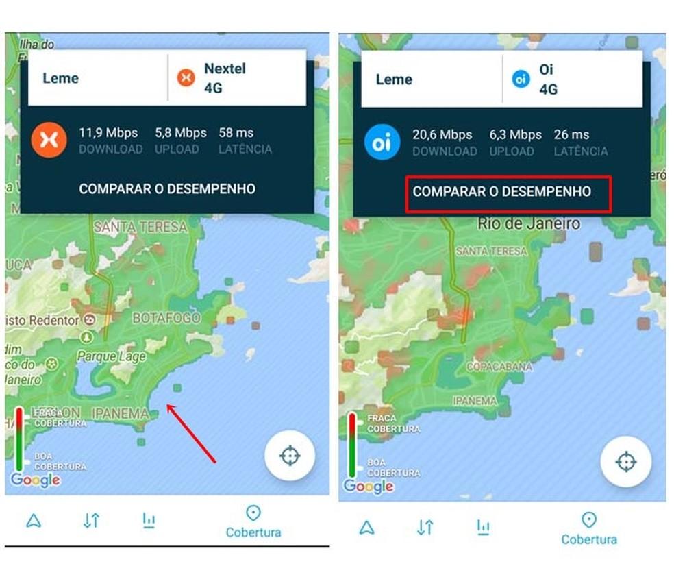 Cobertura no mapa do Open Signal varia de Fraca a Boa (Foto: Reprodução/ Taysa Coelho)