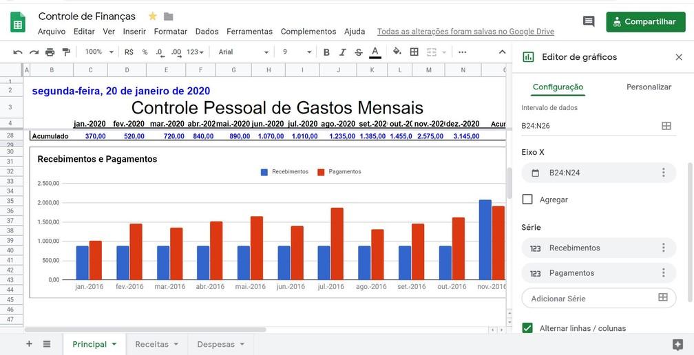 Clique na opção 'Inserir gráfico', selecione tipo de gráfico 'Colunas' para representar o comparativo entre Recebimentos e Pagamentos — Foto: Reprodução/G1