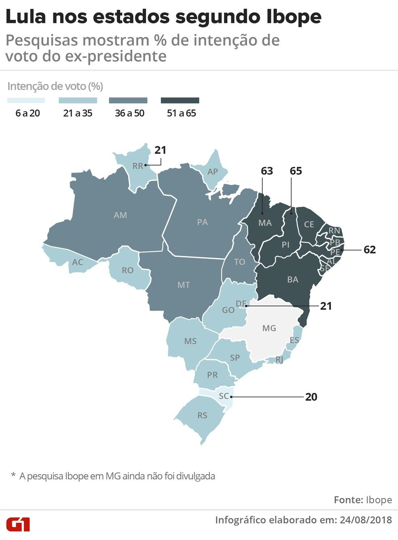 Lula nos estados segundo Ibope (Foto: Igor Estrella/G1 Arte)