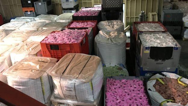 Produtos de slime prontos para serem transportados por todo o mundo a partir de fábrica em Blackburn (Foto: Getty Images via BBC)