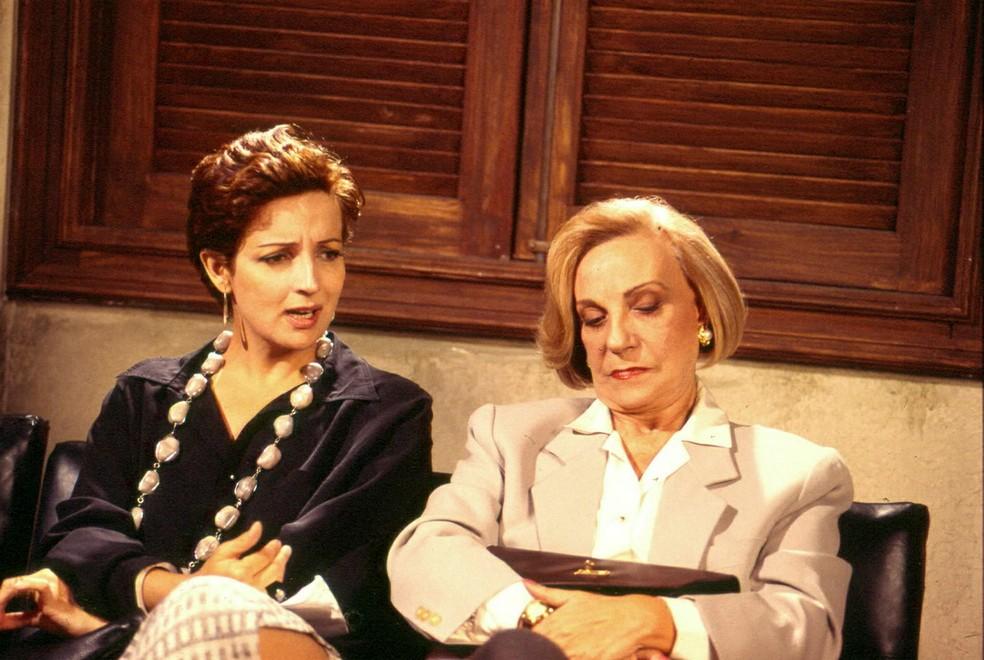 Betty Lago e Márcia Real em 'Bebê a Bordo', de 1988 — Foto: Acervo TV Globo