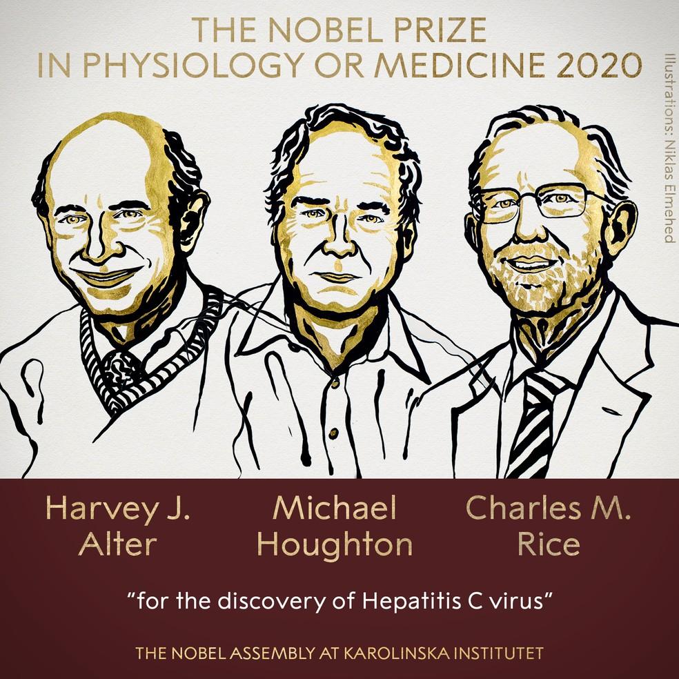 Harvey J. Alter, Michael Houghton e Charles M. Rice são os ganhadores do Prêmio Nobel 2020 em Medicina, anunciou a Academia Sueca nesta segunda-feira (5), pela descoberta do vírus da hepatite C. — Foto: Nobel