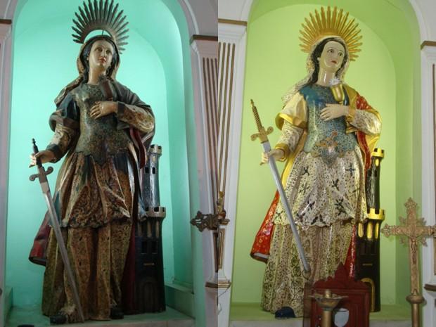 Imagem original de 2002 (à eqsuerda) e restaurada em 2012 (à direita) (Foto: Milton Teixeira/ Arquevo Pessoal)
