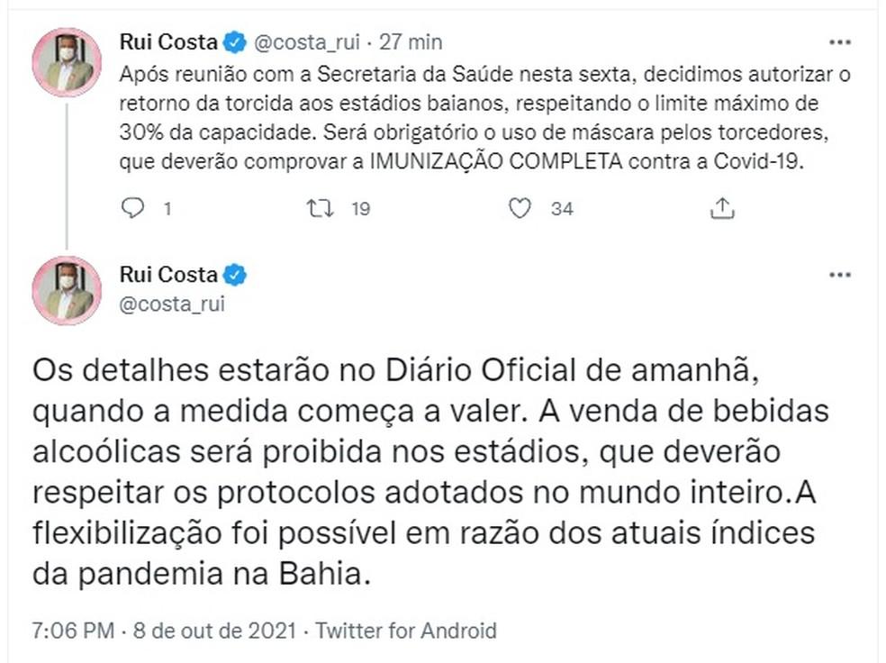 Governador Rui Costa anuncia liberação da torcida aos estádios — Foto: Reprodução/Twitter