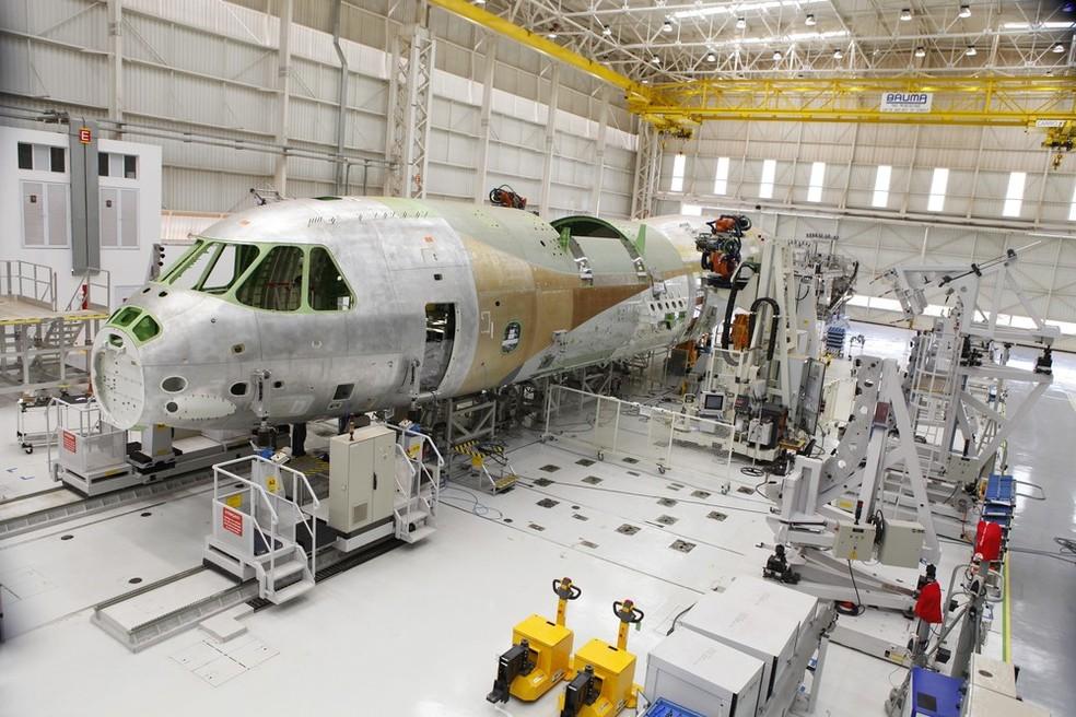 Cargueiro da Embraer KC-390 em construção em Gavião Peixoto (Foto: Divulgação/Embraer)