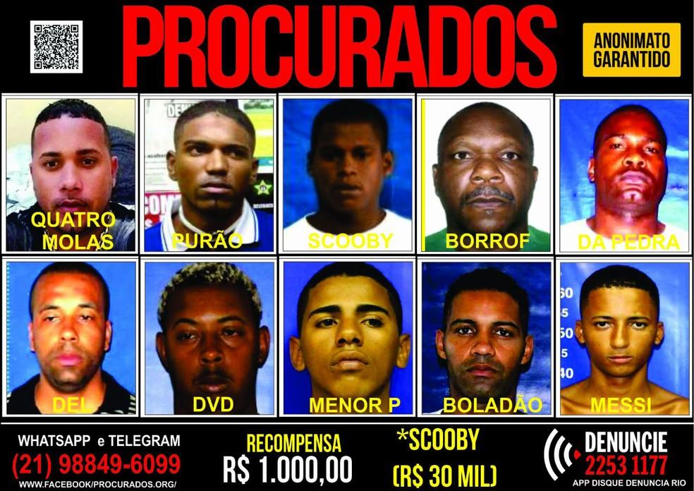 Cartaz oferece recompensa por informações que levem à prisão de traficantes do Morro dos Macacos, na Zona Norte do Rio. (Foto: Reprodução/ Portal dos Procurados)