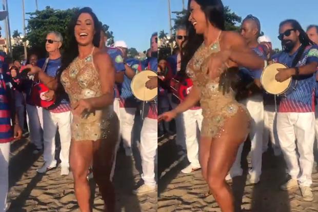 Gracyanne Barbosa mostra samba no pé na areia (Foto: Reprodução/Instagram)