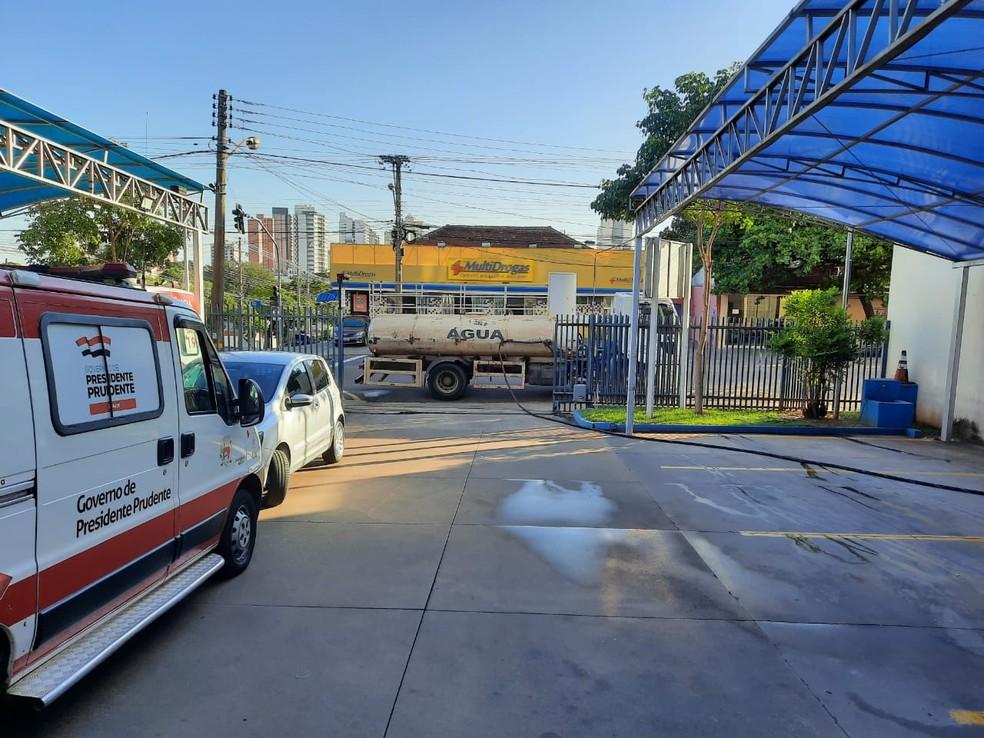 Central de Ambulâncias foi um dos locais que receberam a limpeza — Foto: Cedida/Secom