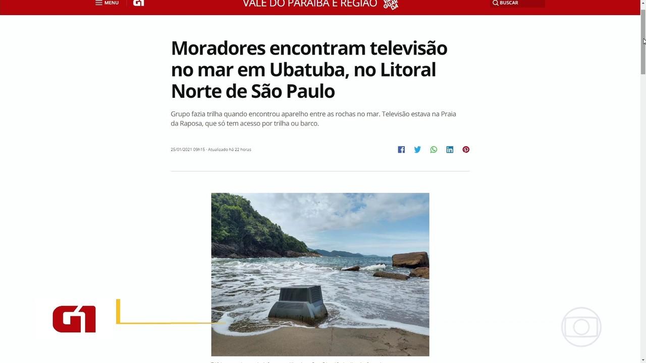 Moradores encontram TV no mar em Ubatuba