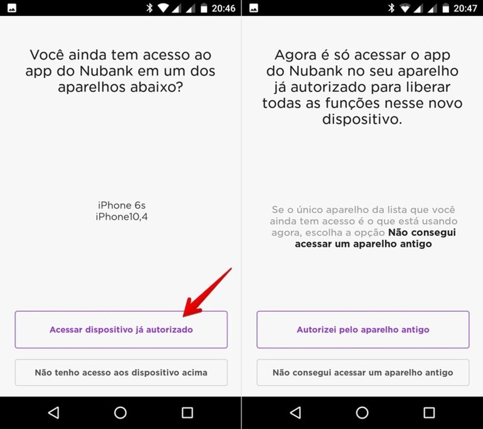 Confirmando celular a partir de aparelho já autorizado — Foto: Reprodução/Helito Bijora