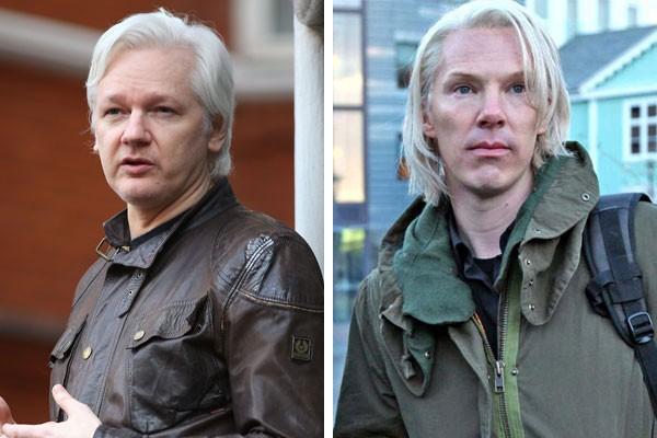 Julian Assange e sua versão cinematográfica interpretada por Benedict Cumberbatch (Foto: Getty Images/Reprodução)
