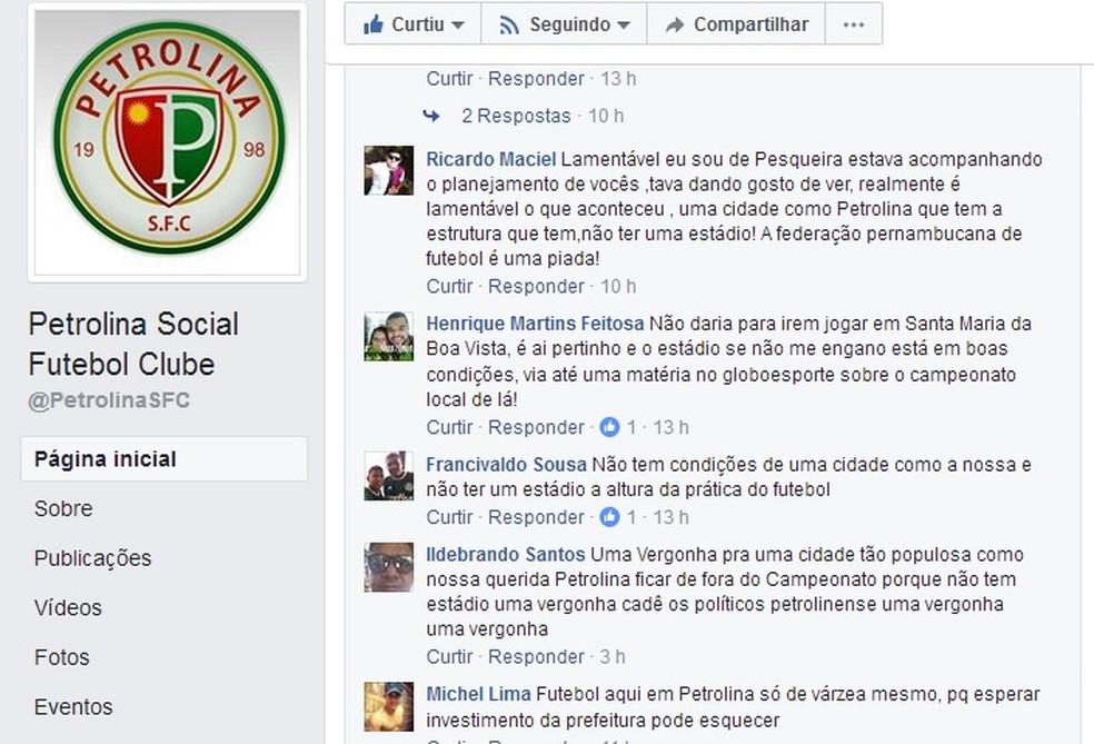 Torcedores de Petrolina reclamam sobre a ausência dos times da cidade na Série A2 (Foto: Reprodução / Facebook)