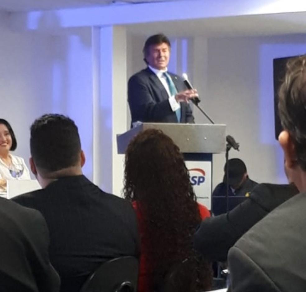 O ministro Luiz Fux, durante palestra em faculdade de Avaré (SP) — Foto: Adolfo Lima/TV TEM