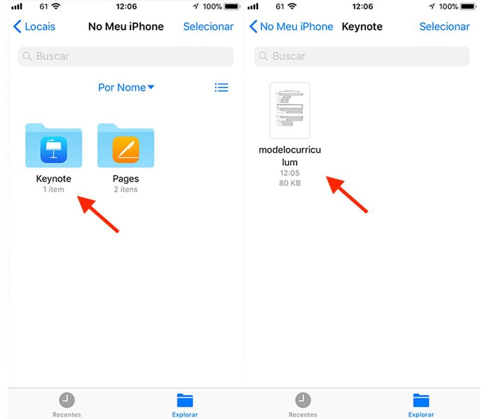 Opção para abrir um documento no app Arquivos do iPhone (Foto: Reprodução/Marvin Costa)