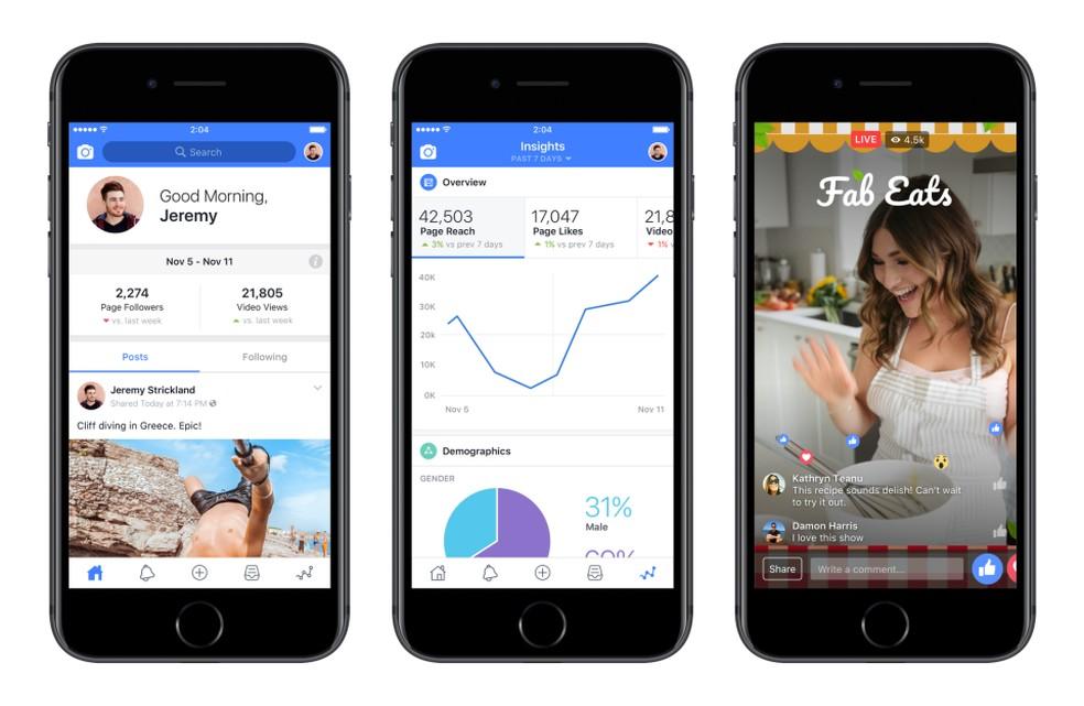 Aplicativo do Facebook Creators permite monitorar as transmissões — Foto: Divulgação/Facebook