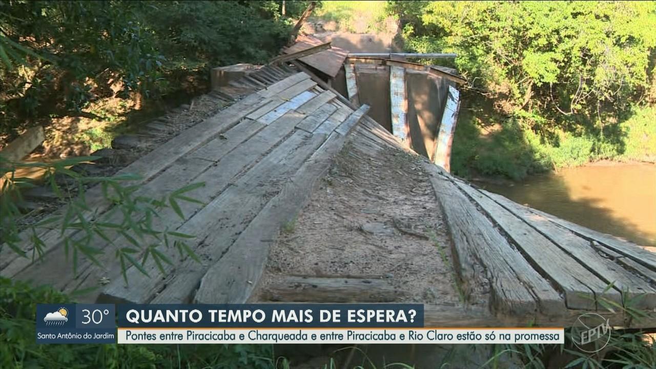 Duas pontes na região de Piracicaba estão em condições precárias