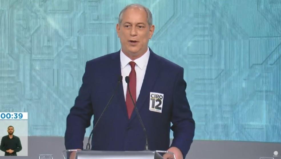 O candidato do PDT à Presidência, Ciro Gomes, no debate da Rede Record — Foto: Reprodução