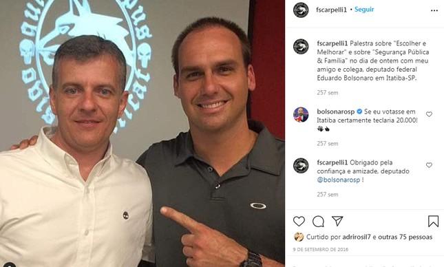 Em publicação no Instagram, Eduardo Bolsonaro declara apoio à candidatura de Scarpelli a vereador em Itatiba (SP)