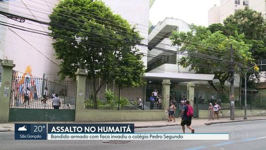 Bandido armado com faca invade colégio Pedro Segundo no Humaitá