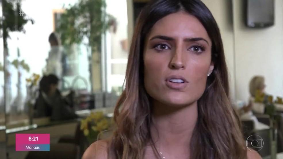 Jéssica Aronis disse que não percebia que era agredida pelo ex-companheiro. A modelo foi ajudada pela mãe e pelo cabeleireiro — Foto: TV Globo