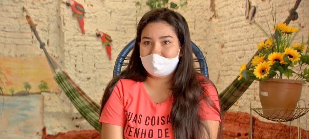 Brenda teve filho durante a pandemia  — Foto: TVCA/Reprodução