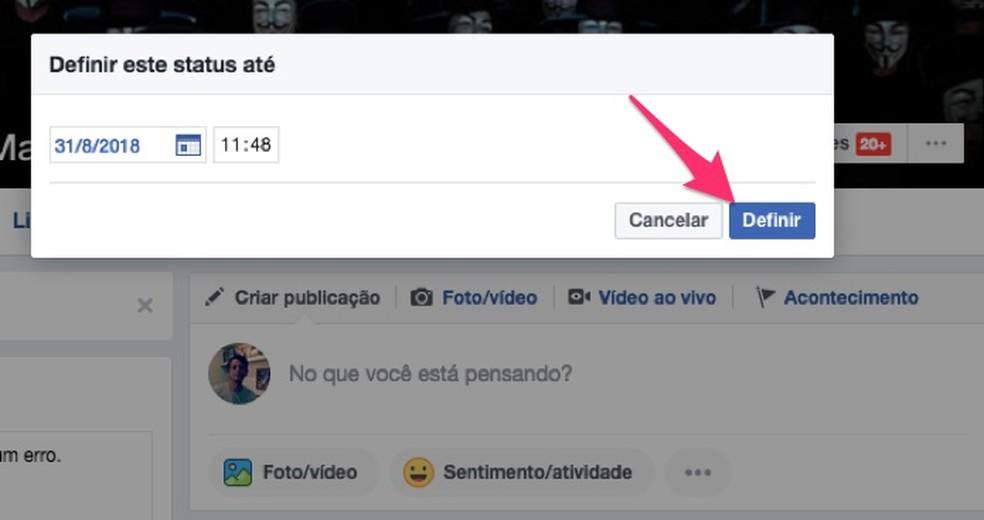 Ação para definir uma data de expiração para uma biografia em perfil do Facebook (Foto: Reprodução/Marvin Costa)