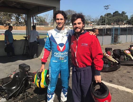 Bruno Senna e Hugo Bonemer juntos na pista onde Ayrton treinava (Foto: Divulgação)