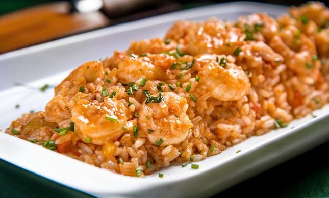 Churrasqueira Rio: arroz com camarão