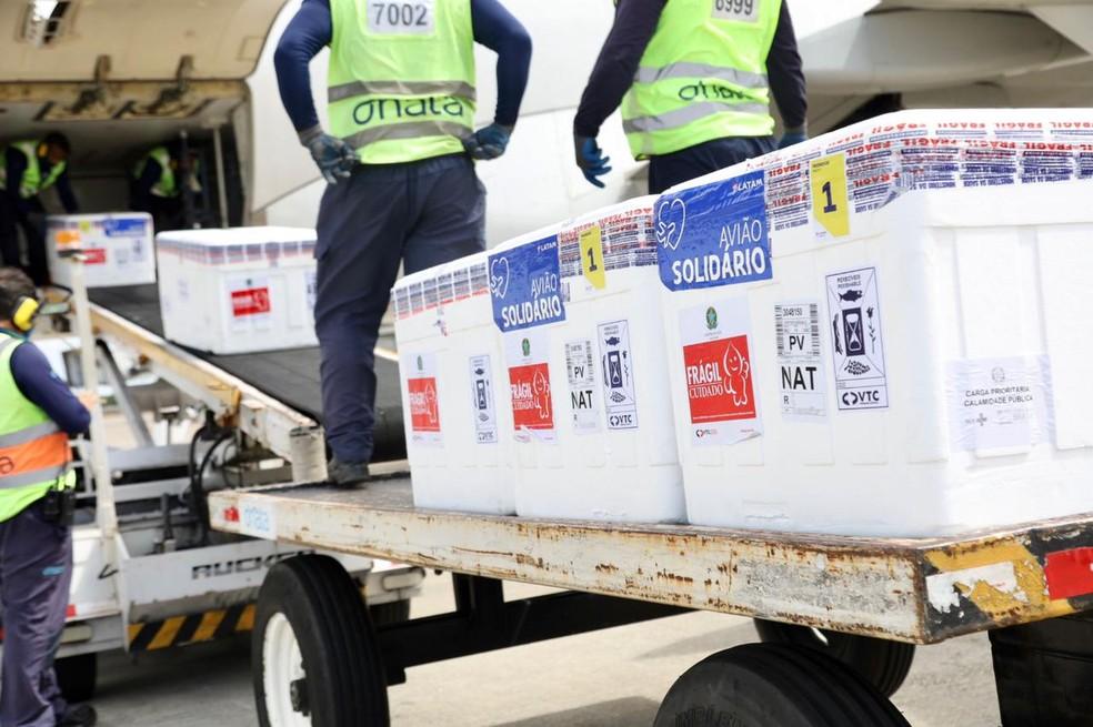 Vacinas chegam ao Rio Grande do Norte na manhã desta quarta-feira (2) — Foto: Divulgação/Governo do RN