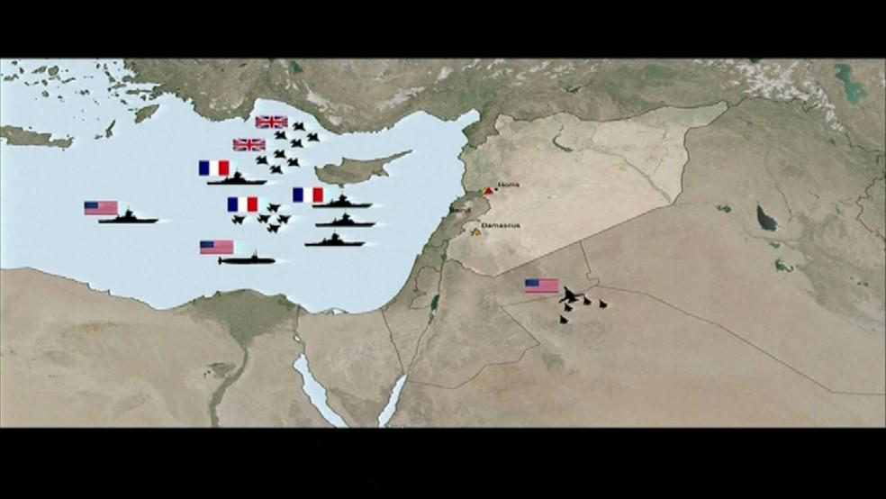 Posicionamento dos mísseis enviados por EUA, França e Reino Unido à Síria (Foto: Departamento de Defesa dos EUA/Reprodução)