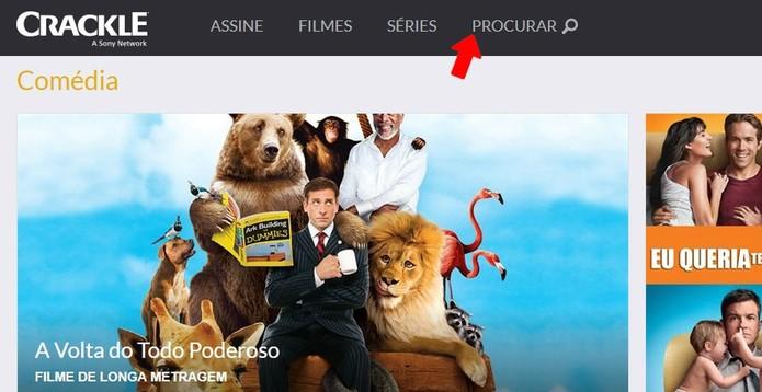 Ferramenta do Crackle permite procurar por filmes e séries (Foto: Reprodução/Rodrigo Fernandes)