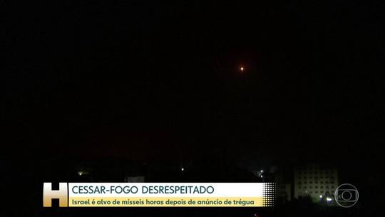 Horas depois de acordo de cessar-fogo Israel é atingida por mísseis
