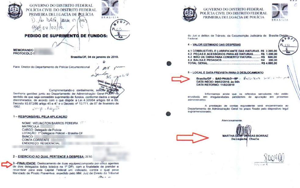 Pedido de suprimento de fundos apresentado pela delegada Martha Vargas à direção da Polícia Civil  (Foto: Reprodução)