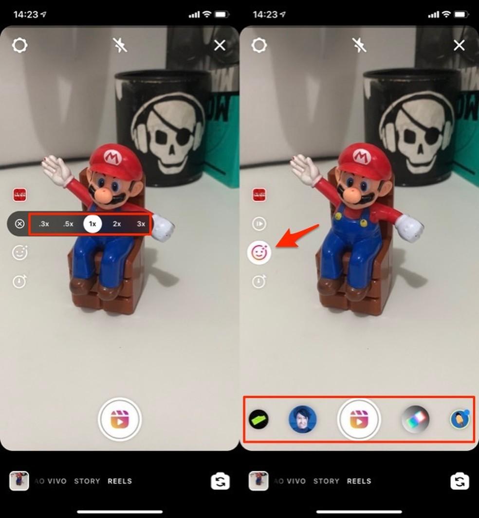 Ação para escolher a velocidade do vídeo e adicionar um filtro no Instagram Reels — Foto: Reprodução/Marvin Costa