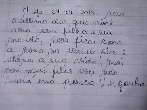 Trecho final da carta que o motorista entregou a ex-mulher minutos antes do acidente (Foto: Reprodução)