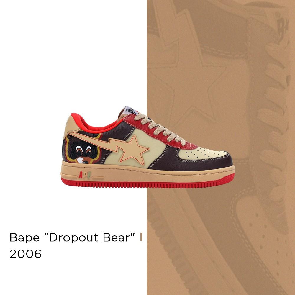 "Kanye West x Bape ""Dropout Bear"" Bapesta - 2006 (Foto: Reprodução | arte: @matthhenriquee)"
