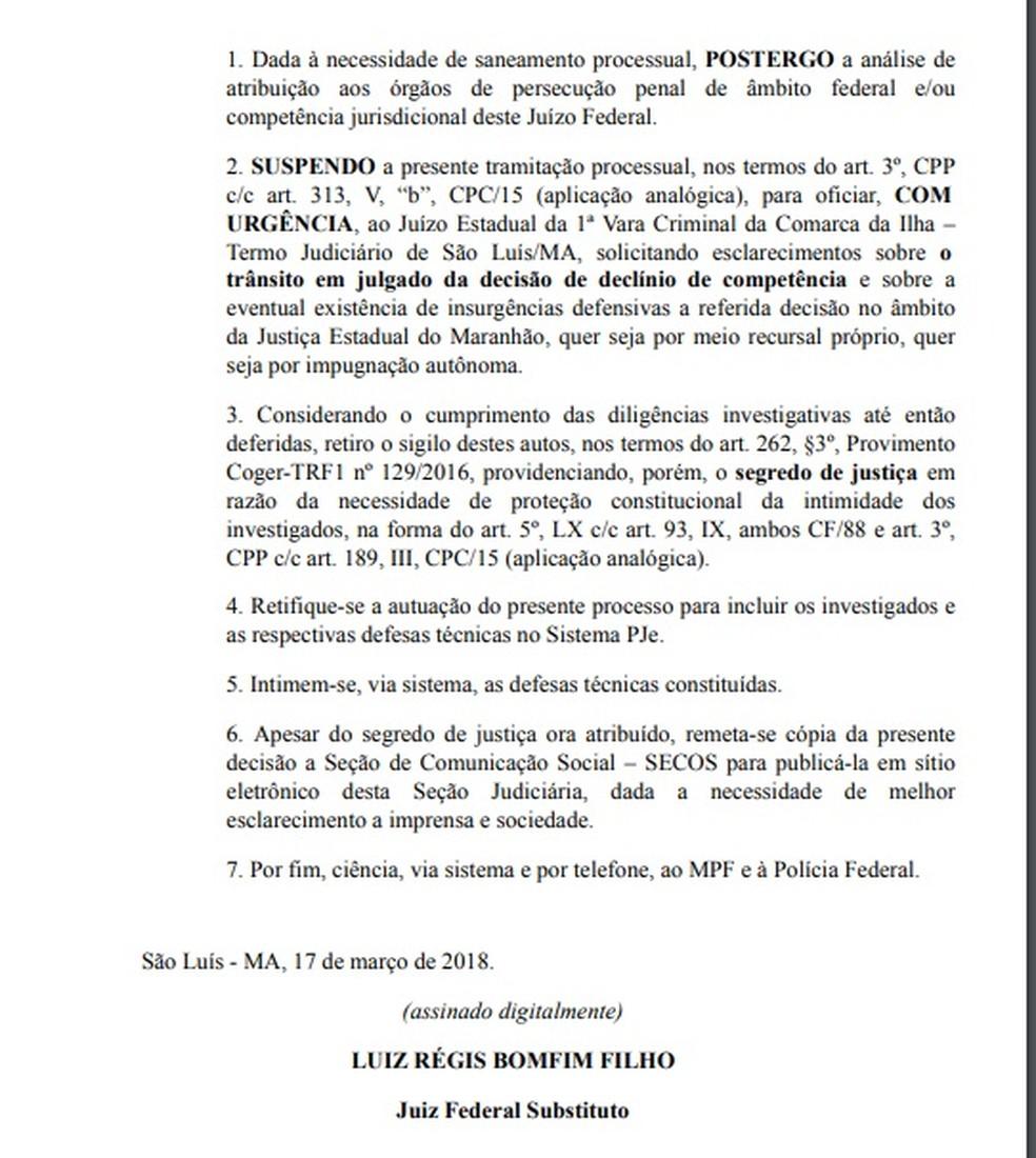 Determinações da Justiça Federal sobre o suposto caso de contrabando por policiais no Maranhãooi (Foto: Justiça Federal)