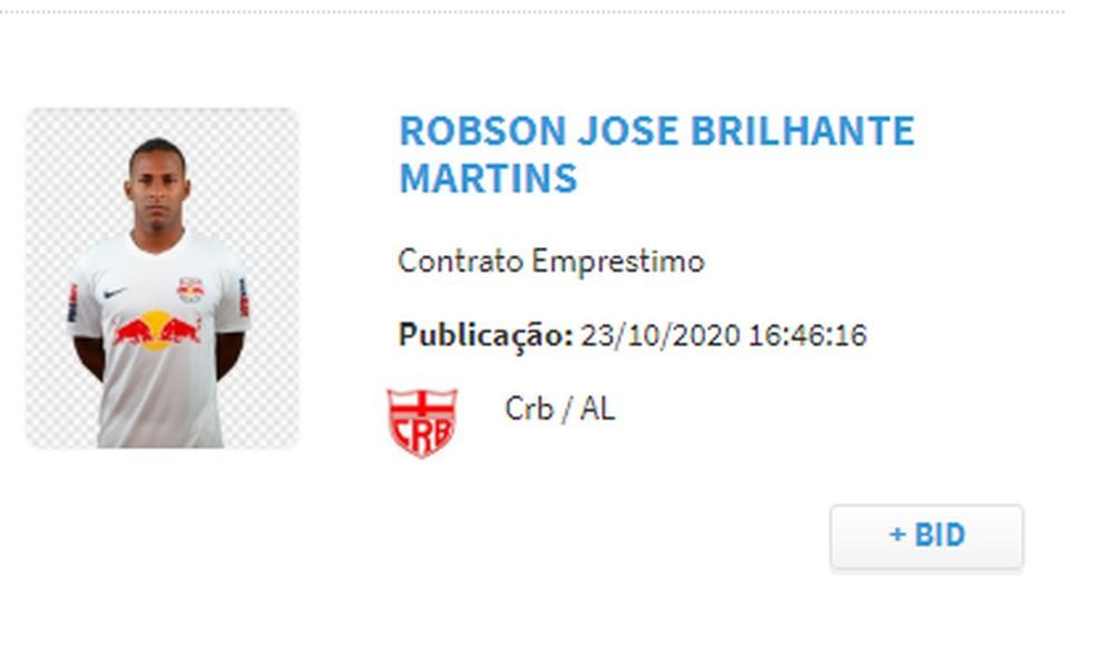 Nome do atacante Robinho aparece no BID — Foto: Reprodução CBF