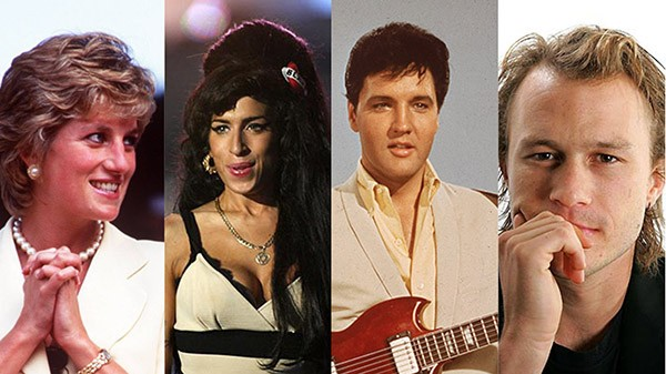 Princesa Diana, Amy Winehouse, Elvis Presley, Heath Ledger (Foto: Getty Images)