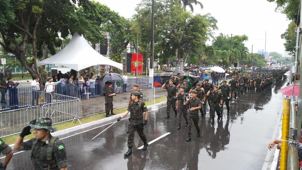 Desfile do Exército no 7 de Setembro de 2018 em João Pessoa — Foto: Antônio Vieira/TV Cabo Branco