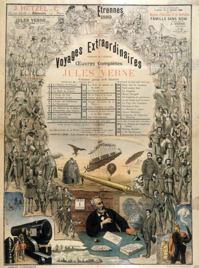 Pôster de Hetzel anunciando os trabalhos criados por Júlio Verne  (Foto: Wikimedia)