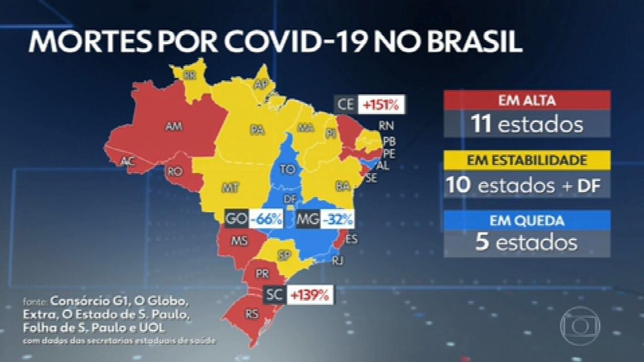Brasil ultrapassa 174 mil mortes por Covid, com 669 nas últimas 24 horas