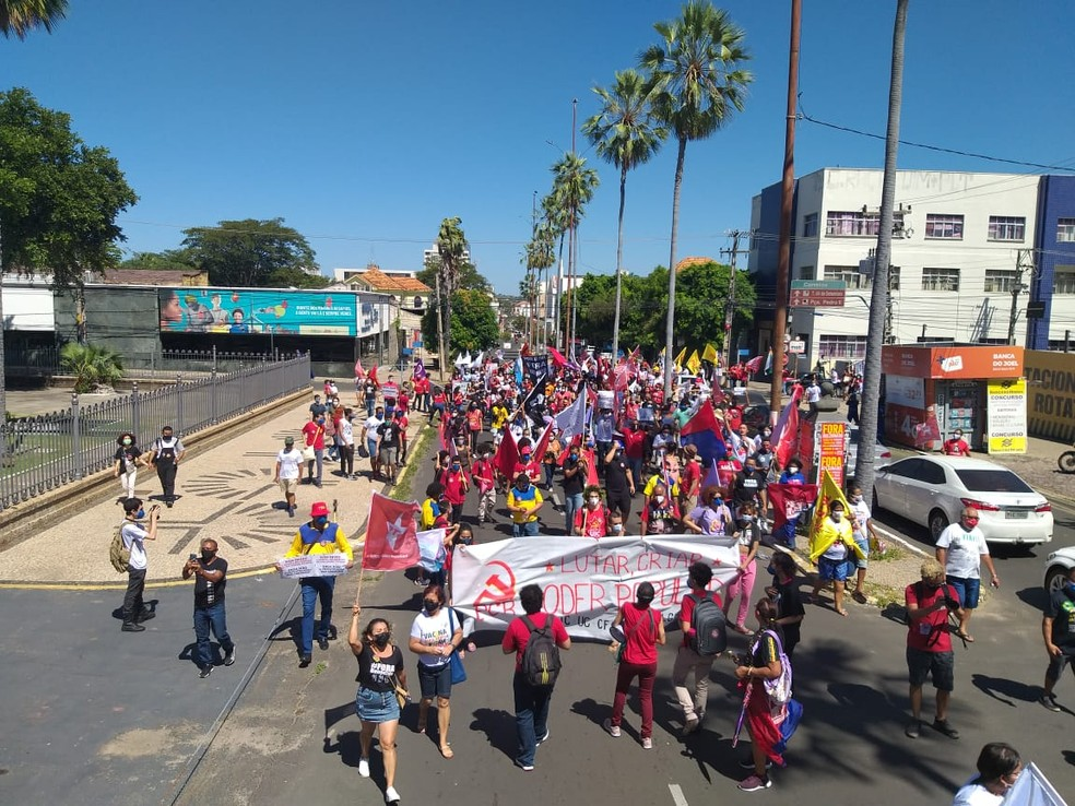 Manifestação em Teresina pede impeachment de Bolsonaro, mais vacinas e auxílio de R$ 600 — Foto: Naftaly Nascimento/G1