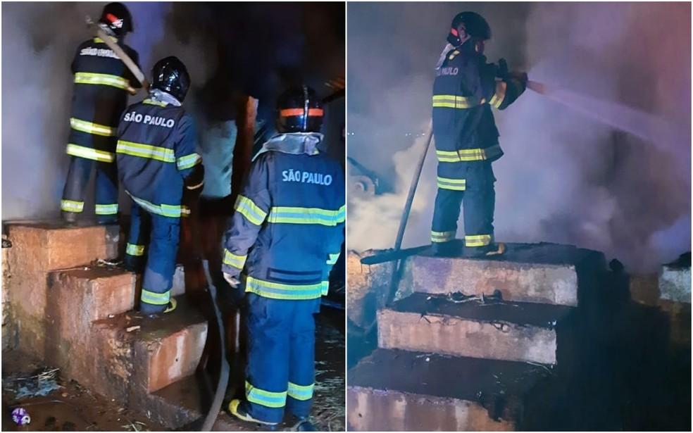 Bombeiros apagaram fogo que destruiu galpão de fazenda em Taquarituba — Foto: Corpo de Bombeiros/Divulgação