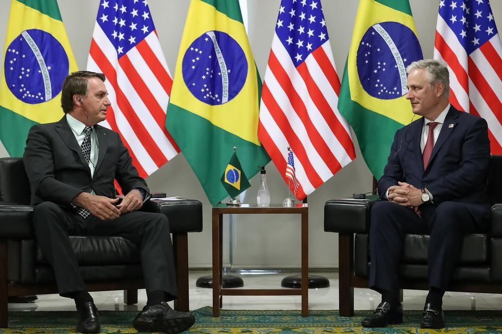 Presidente Jair Bolsonaro durante encontro com o conselheiro de Segurança Nacional dos EUA, Robert O'Brien. — Foto: Marcos Corrêa/PR