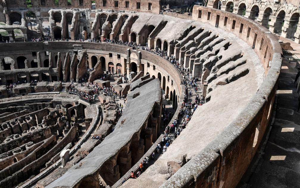 Vista do ponto mais alto do Coliseu na terça-feira (3) (Foto: Andreas Solaro/AFP)