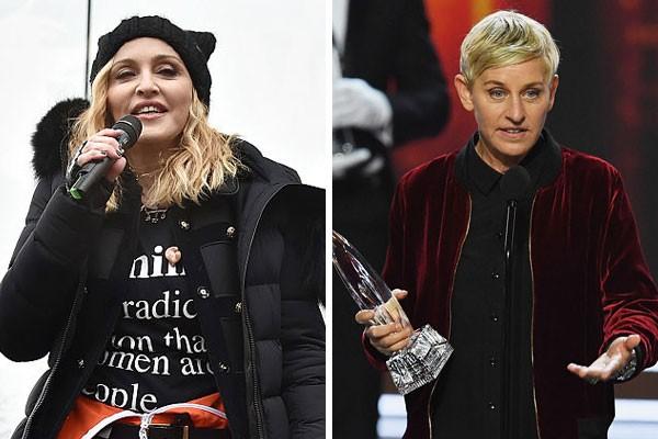 As primas de décimo primeiro grau Madonna e Ellen DeGeneres (Foto: Getty Images)