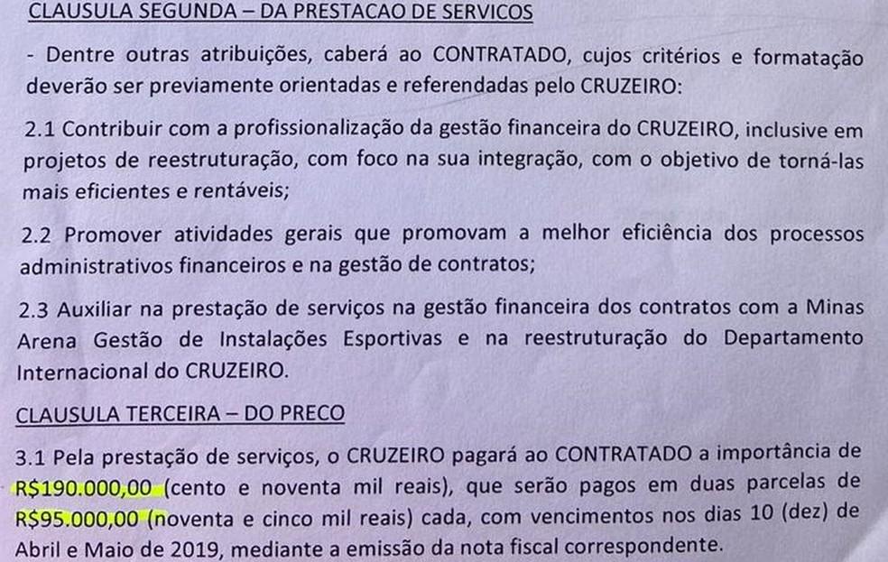 Contrato entre Gustavo Perrella e Cruzeiro — Foto: Reprodução