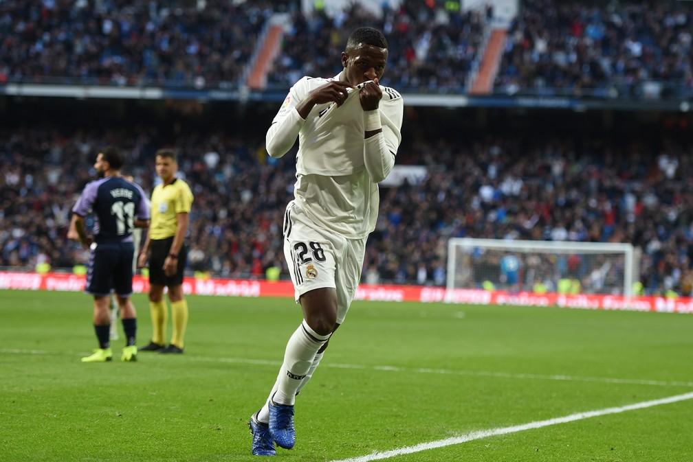 Vinicius Junior marcou seu primeiro gol pelo Real Madrid — Foto: Denis Doyle/Getty Images