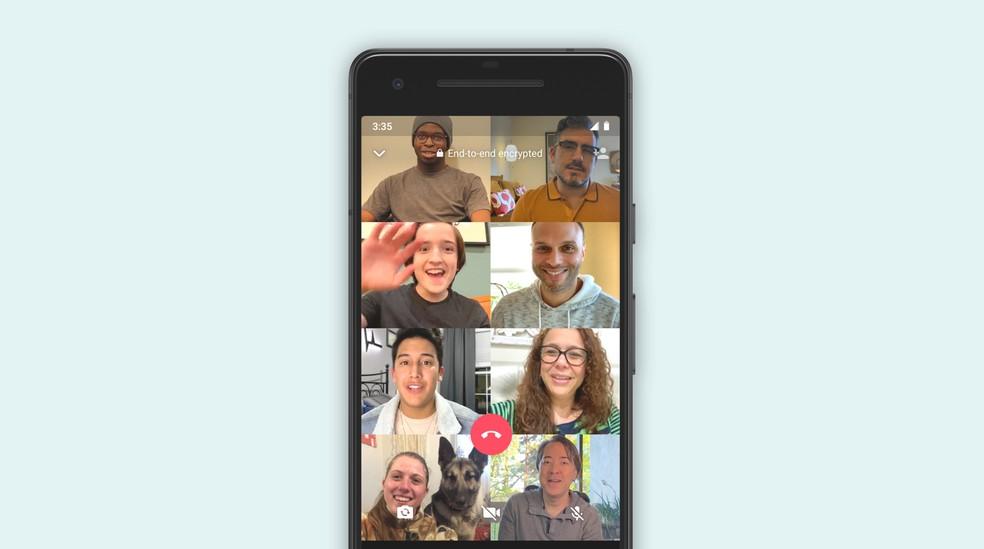 É possível se conectar e ver mais pessoas numa mesma ligação no WhatsApp. — Foto: WhatsApp/Divulgação